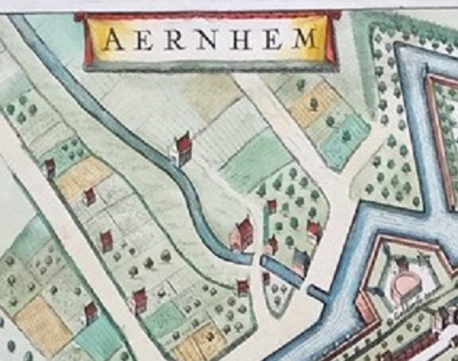 De Pruemermolen en Sint-Jansmolen. Bron: kaart van J. Blaue uit 1649