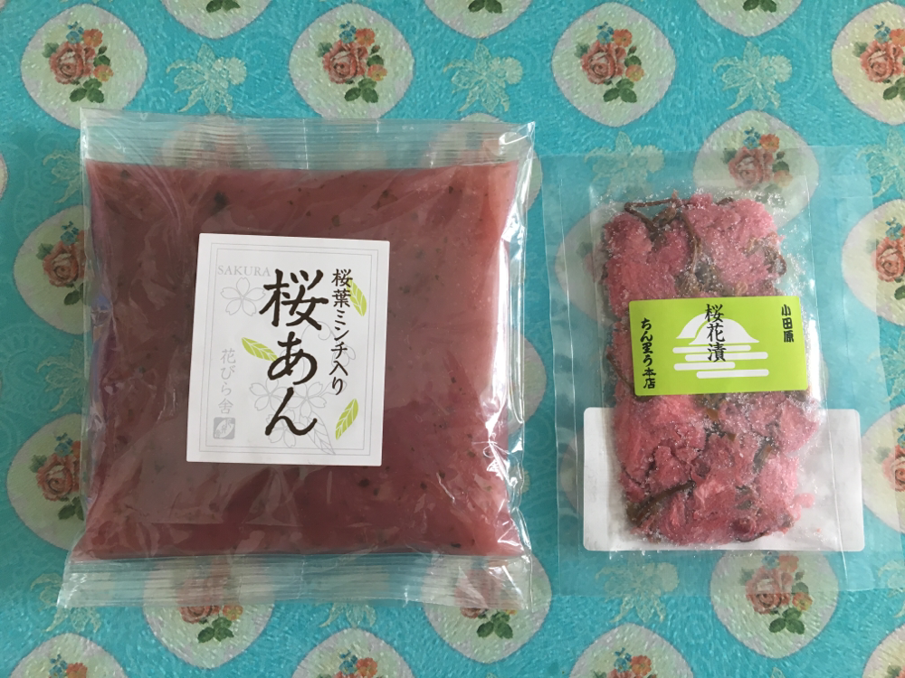sakura an-paste and pickled cherry blossoms