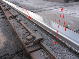 Rolling of rails and abrasion