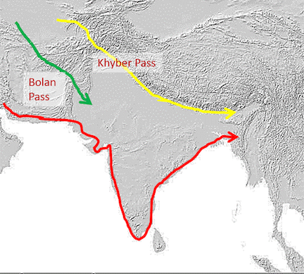 "Fig 1.  from Vahia et al. 2017. ""Potential migration routes. Some potential migration routes of various population groups entering the South Asian subcontinent more than 30,000 years ago."""