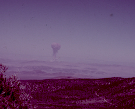 Nuclear Testing at the Nevada Test Site.  Photo courtesy of the Nevada Department of Transportation.