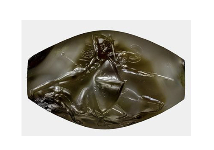 3,500 year old sealstone with bas-relief image of a warrior