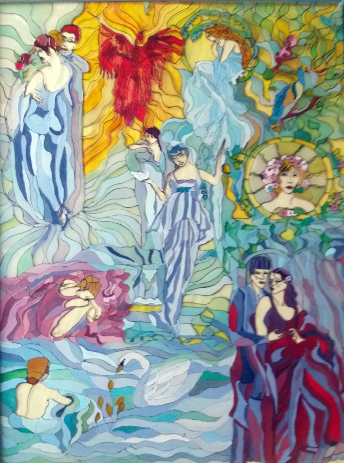 Fairytale n.13 - Pittura acrilico su vetro - cm 55x75