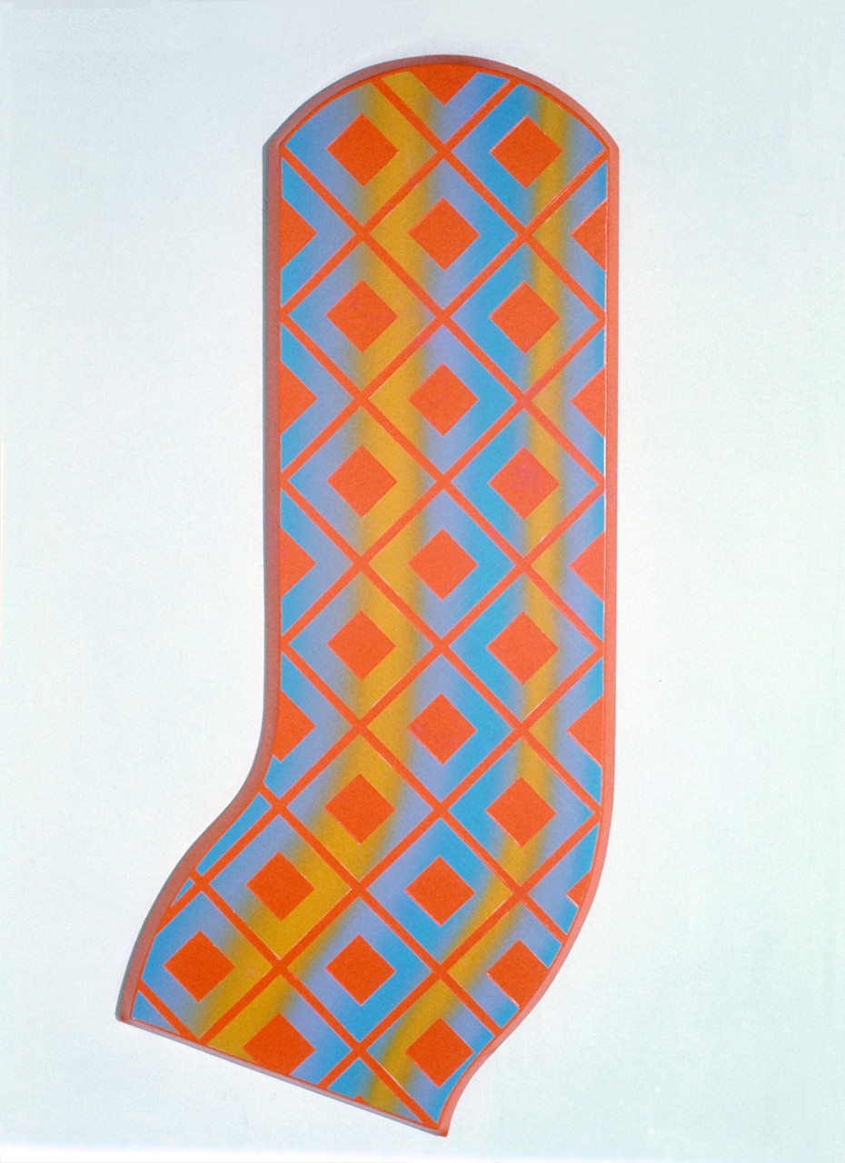CROSS WORK 68-3 1968 Oil on shaped canvas 200x92cm
