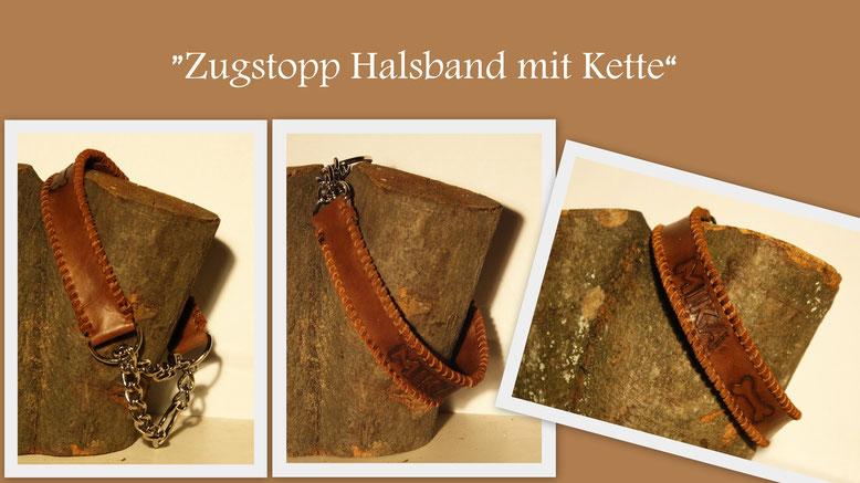 Ein Zugstopphalsband mit Kette. Aus super weichem dunkelbraunem Leder mit Name. Das ganze passend mit Leder umflochten.