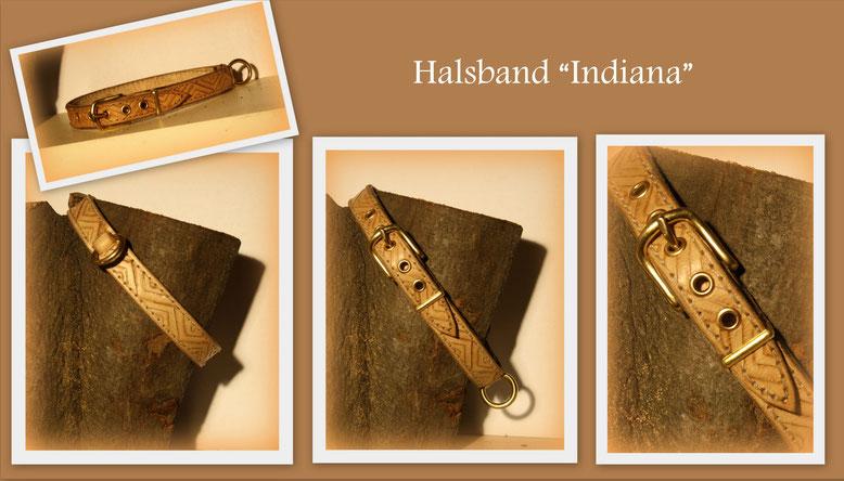Handgefertigtes Lederhalsband, naturfarben mit heller, weißer Naht und punzierter Bordüre im indianischen Style. Dazu passende goldene Messingschnallen, Ringe und Ösen.