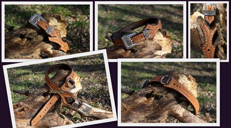 Neues Lederhalsband  Mit MIttelalter verzierter Silberschnalle. Oben Naturfarbenes Leder mit Punzierter Borte, unten dunkelbraunes Leder.