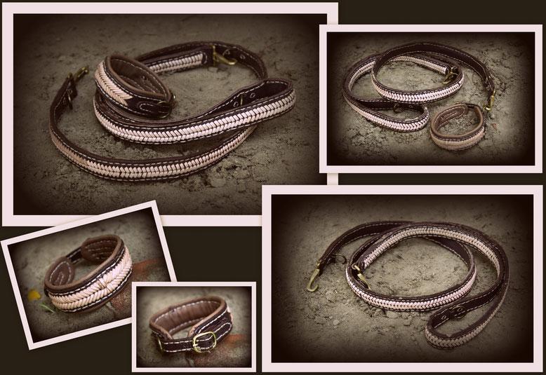 Leine und Halsband;- Set mini Die Leine ist 1,50m lang und komplett geflochten sowie 3 fach, verstellbar.   Das ganze ist in den Farben dunkelbraun, beige und messing. Die Schnalle und der Ring sind aus messing, das unterlegte Nappaleder in beige dazu ein