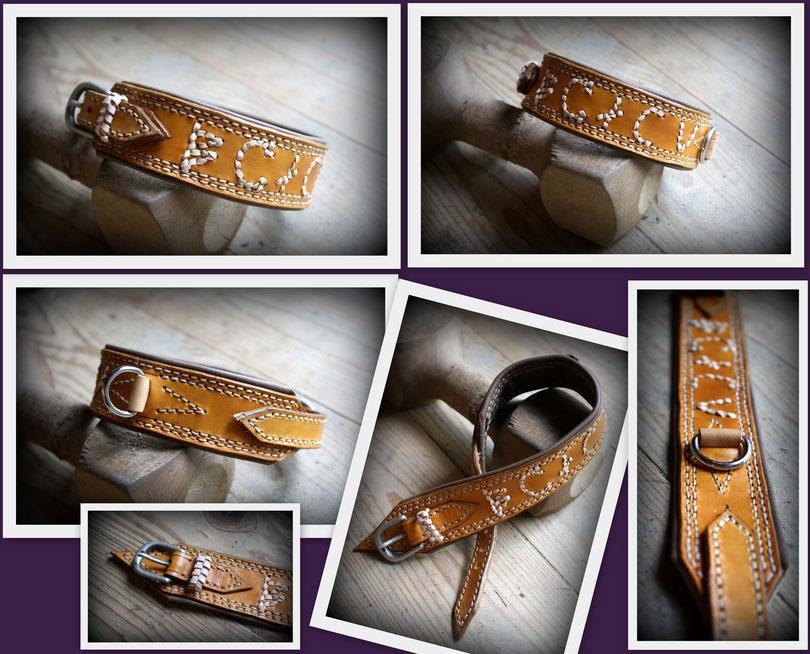 Hundehalsband *Meins* Mit alt ungarischer schrift geflochten mit Leder. Naturfarben, unterlegt in beigem Nappaleder. Zweifache Naht und Silberschnalle.