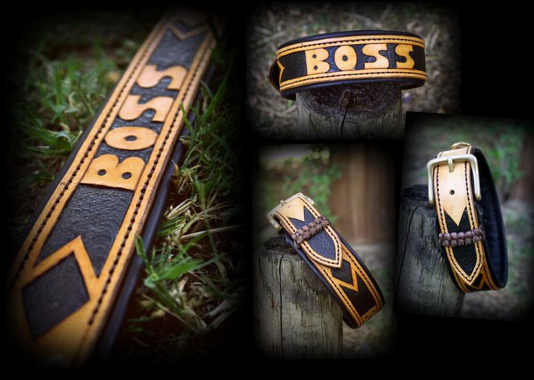 Für die Machos unter den Hunden gibt es nun ein neues Halsband * I´M THE BOSS* Das Halsband ist punziert und zweifarbig in natur/schwarz mit schicker einfacher messing Schnalle. Unterlegt mit Schwarzem Nappaleder.