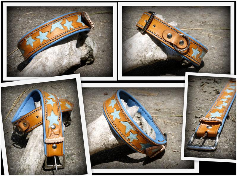 Hundehalsband * blue stars* Super weiches naturleder mit Sternpunzierung, zweifarbig mit hellblauem Nappaleder unterlegt und passend blauer Naht. In größe M ( ca 43cm- 48cm )