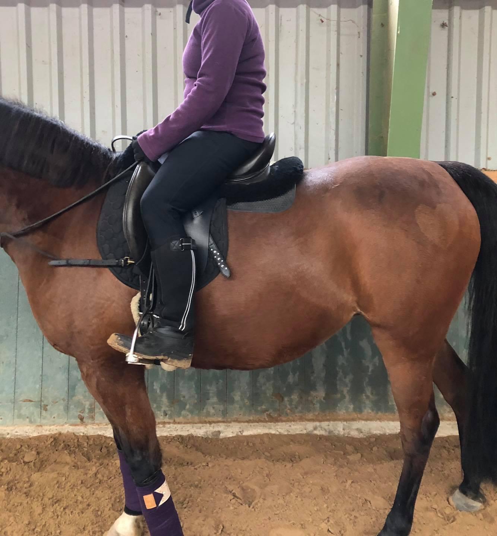 Vor der Sitzschulung hat die Reiterin einen ausgeprägten Rundrücken, ebenso liegen ihre Schenkel deutlich zu weit vorne