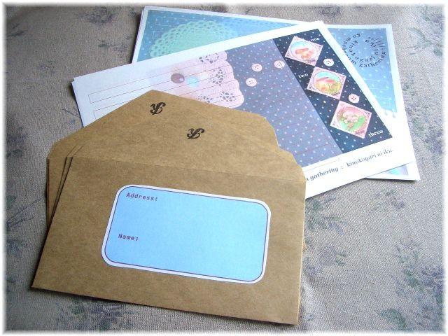 きのこ切手のコラージュ写真でレターセット。