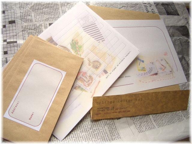切手コラージュのレターセット。きのことウサギ。
