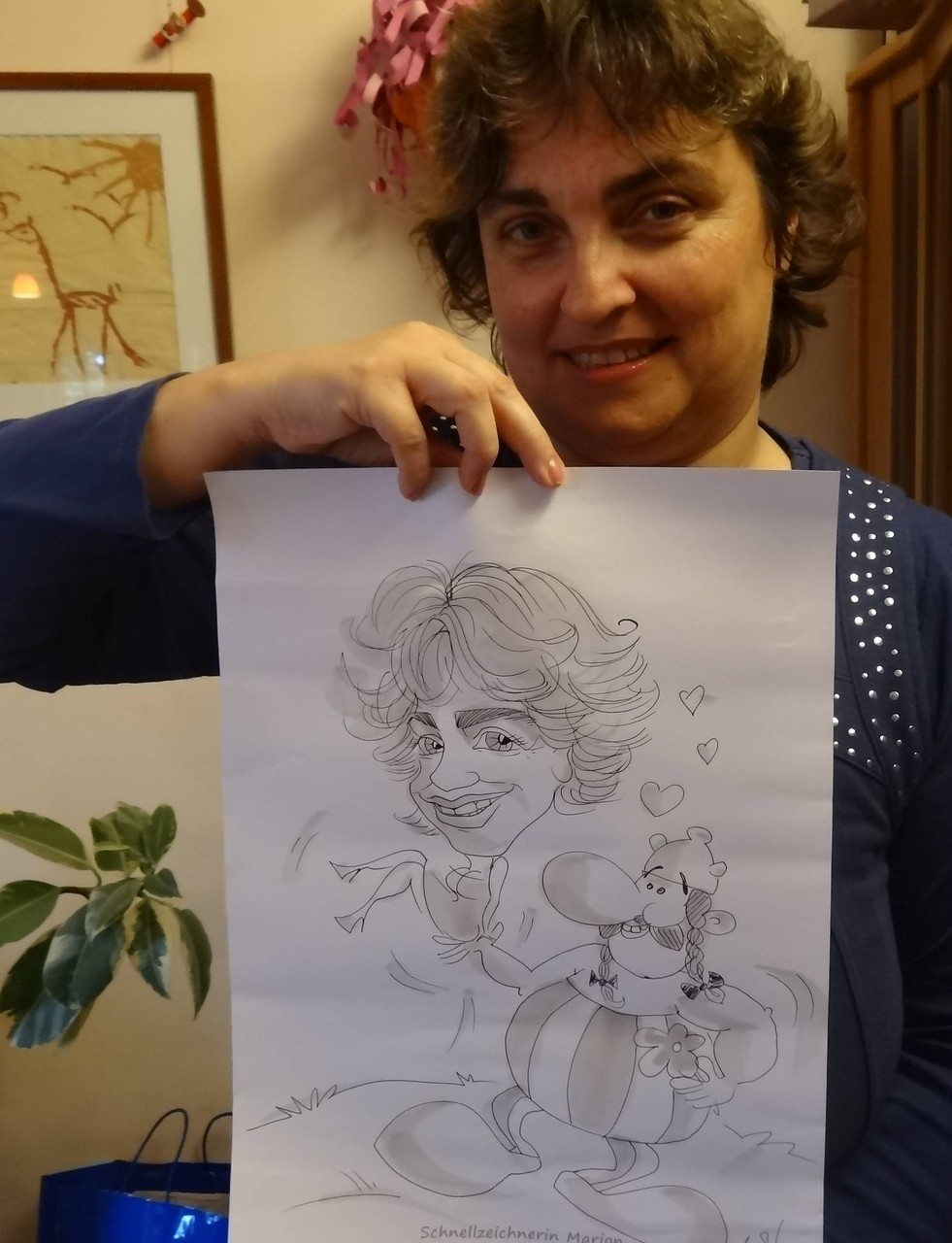Von der Schnellzeichnerin Marion Stein: Obelix und Petra