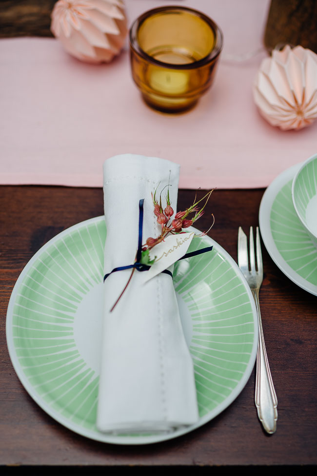 Tischdekoration Waldhochzeit