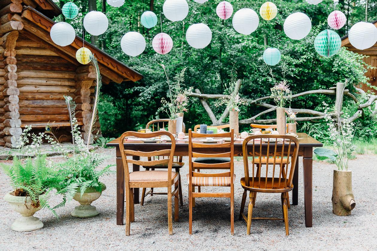 Waldhochzeit Tisch - Hochzeitsfotograf Dresden