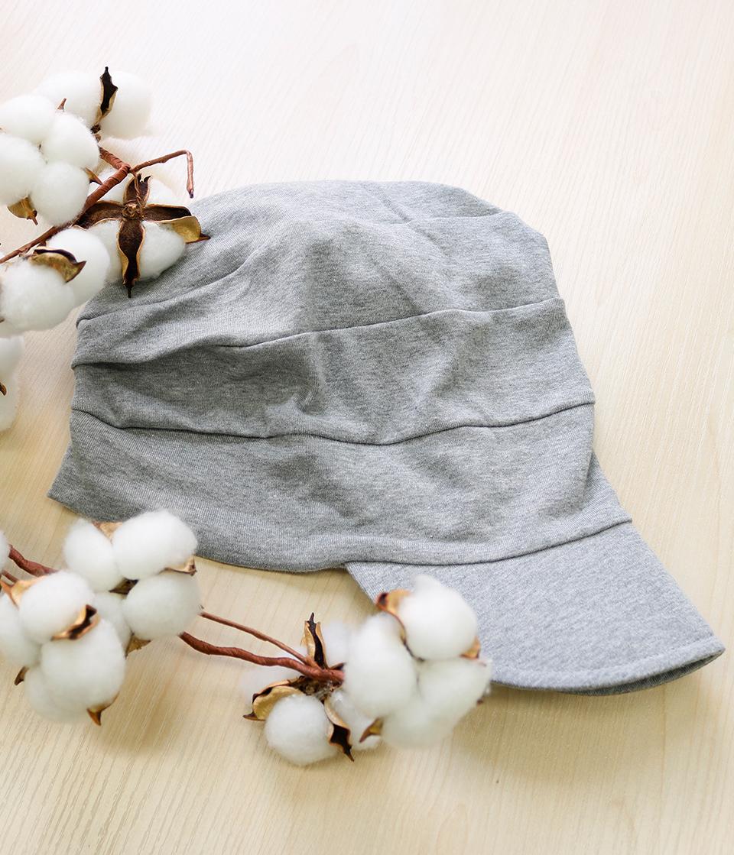 【医療用帽子キャスケットグレー】つば付きでおでかけに最適!オーガニックコットン100%&抗菌加工の医療用帽子