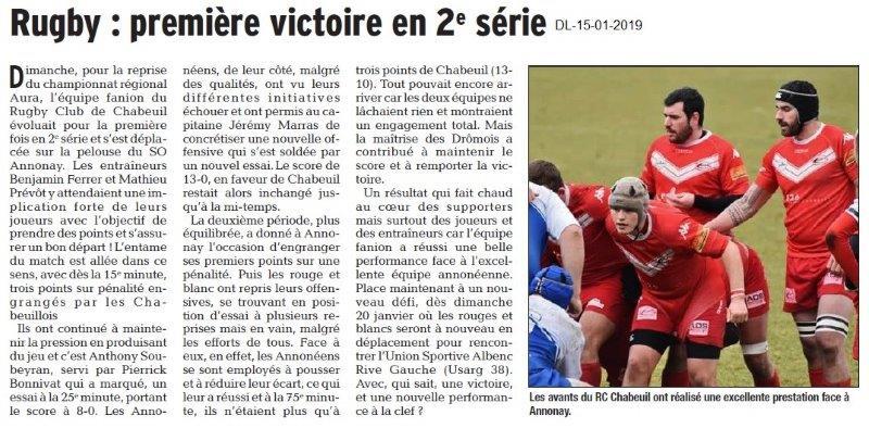Le Dauphiné Libéré du 15-01-2019- Rugby