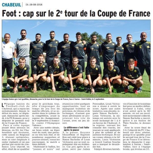 Dauphiné libéré du 28-08-2018 Football Club de Chabeuil