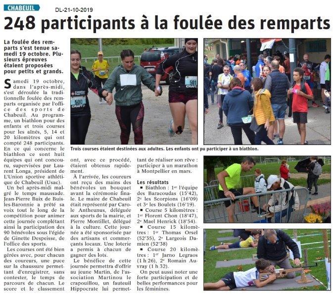 Le Dauphiné Libéré du 21-10-2019- La Foulée des remparts