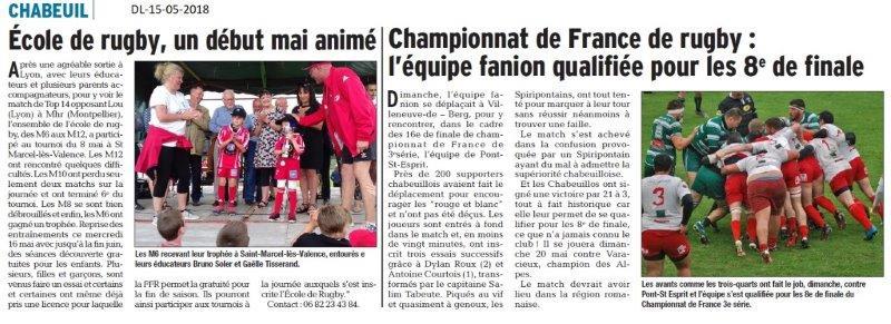 Dauphiné libéré du 15-05-2018- Ecole de Rugby Chabeuil