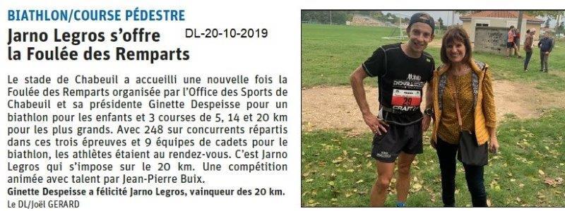 Le Dauphiné Libéré du 20-10-2019- Foulée des Remparts de Chabeuil