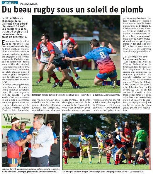Daupiné Libéré du 01-09-2019- Rugby.