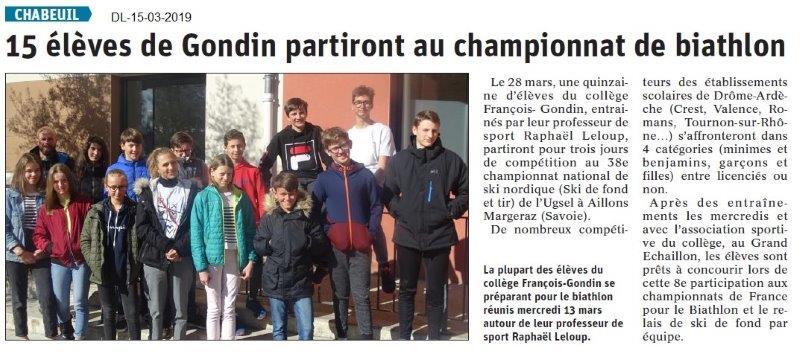 Le Dauphiné Libéré du 15-03-2019- Biathlon au collège