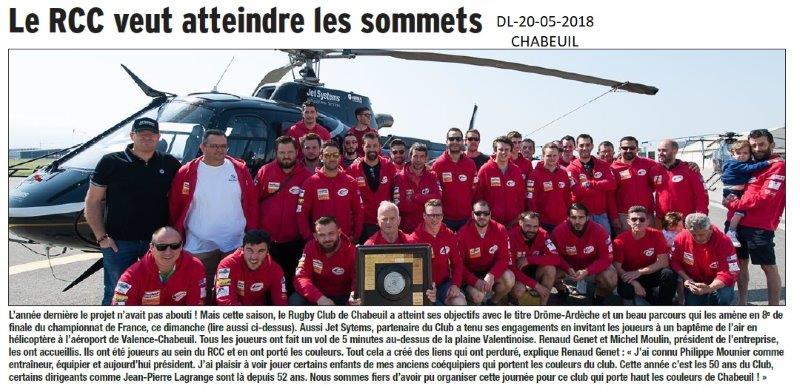Dauphiné libéré du 20-05-2018-Rugby- Chabeuil