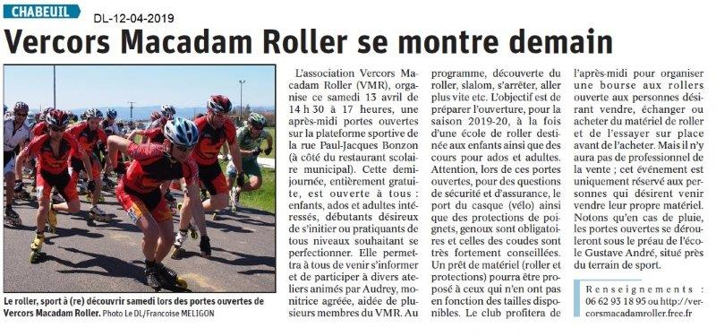 Dauphiné Libéré du 12-04-2019- Animation du Macadam Roller à Chabeuil