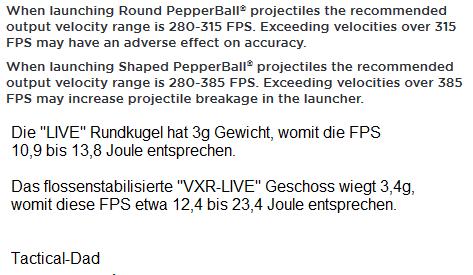 Diese empfohlenen Einstellungen der Geschossgeschwindigkeit stammen aus der Anleitung der Pepperball Custom SX, die auf der Tippmann 98 Custom basiert.