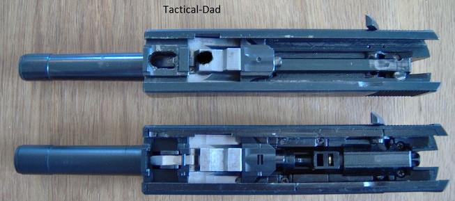 Die Airsoft Maruzen P38 weist sogar einen Verschlussblock auf, der den Verschluss verriegelt.