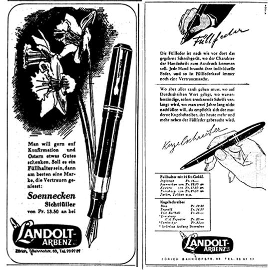 1945 Soennecken. 1946 erscheinen die ersten Anzeigen mit Kugelschreiber