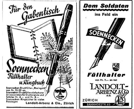 1934 wurde der bei Sammler begehrte Soennecken Rheingold beworben und auch während den Kriegsjahren unterliess man es nicht etwas Werbung zu machen