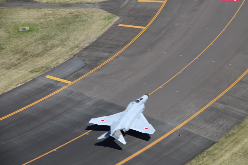 ヘリの着陸寸前で見かけた自衛隊の戦闘機