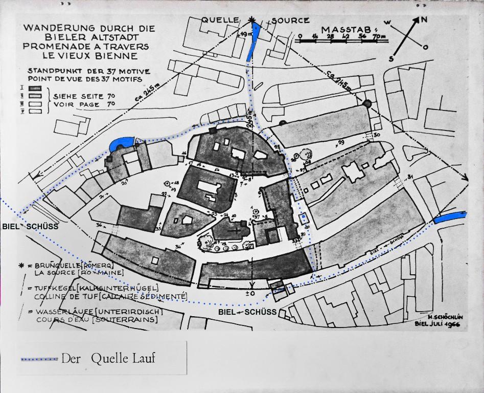 Plan der Römerquelle aus dem Büchlein «Wanderung durch die Bieler Altstadt« von Hans Schöchlin.
