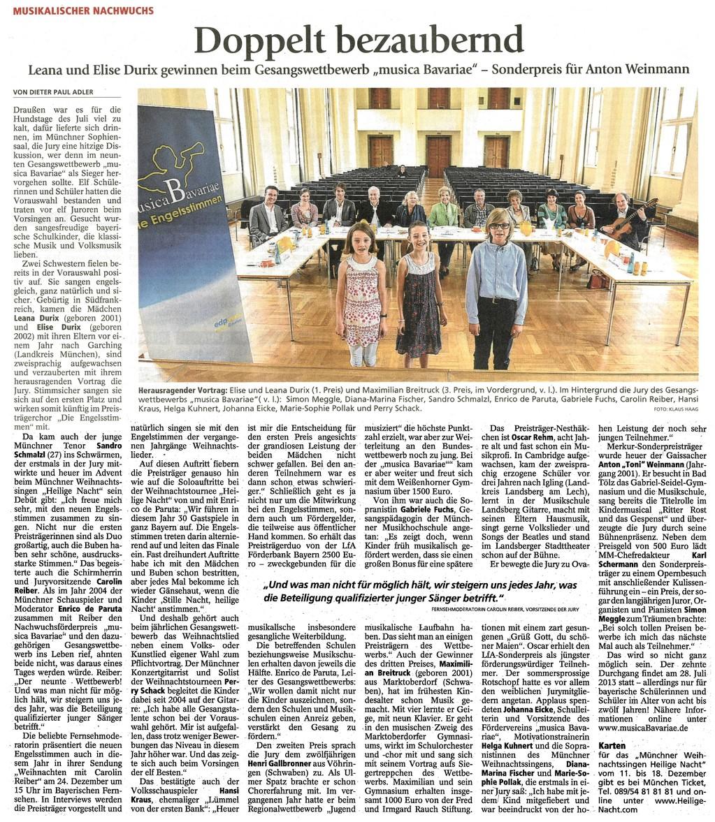 """""""Doppelt bezaubernd"""" titelte der Merkur am 3.8.2012 seinen Artikel zum 9. Gesangswettbewerb musica Bavariae 2012 für bayerische Schülerinnen und Schüler"""
