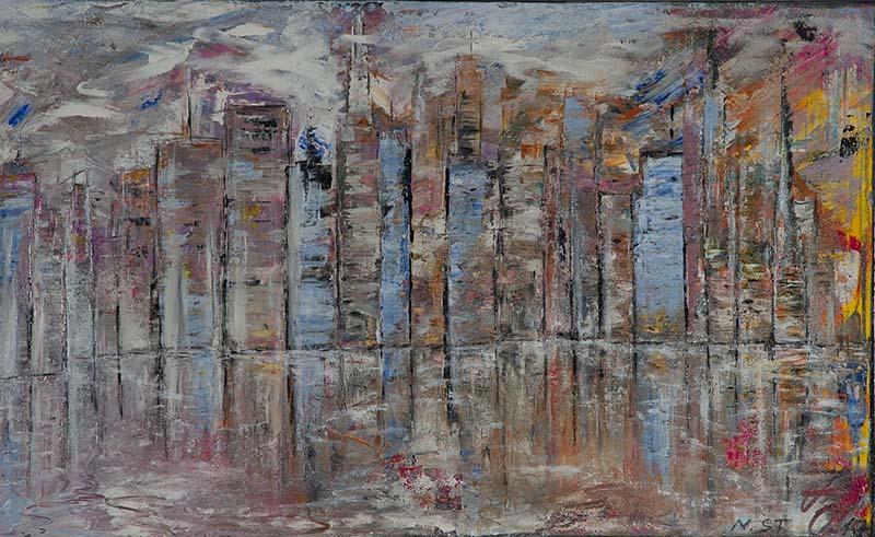 Bankwelt/ Acryl auf Leinwand / 80 x 130 cm