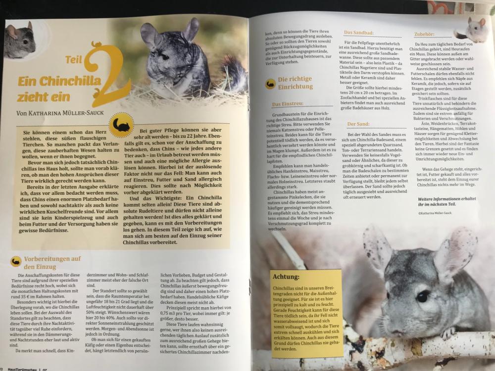 Ein weiterführender Artikel von mir in der Ausgabe 7/19 der Haustier Umschau
