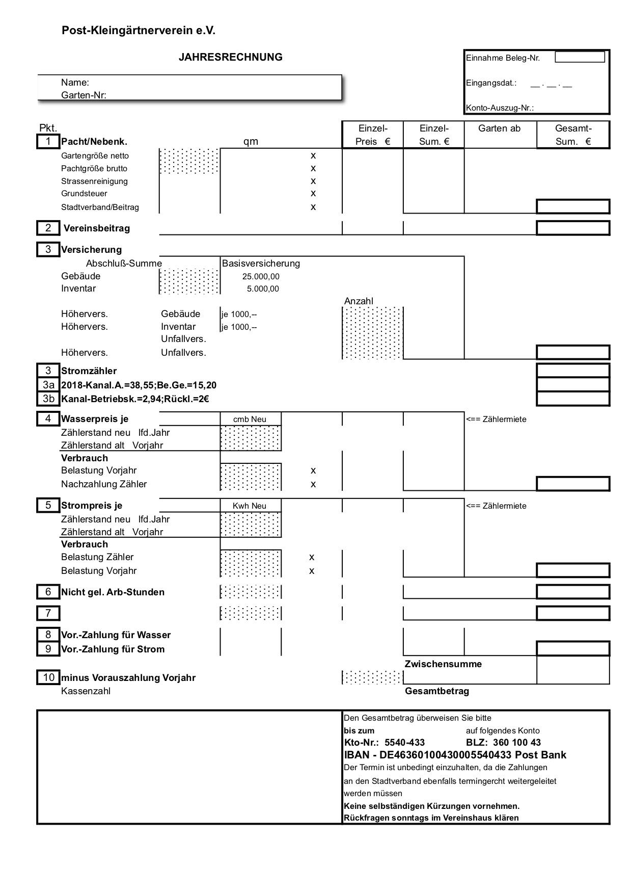 Abrechnungsformular 1999-2018
