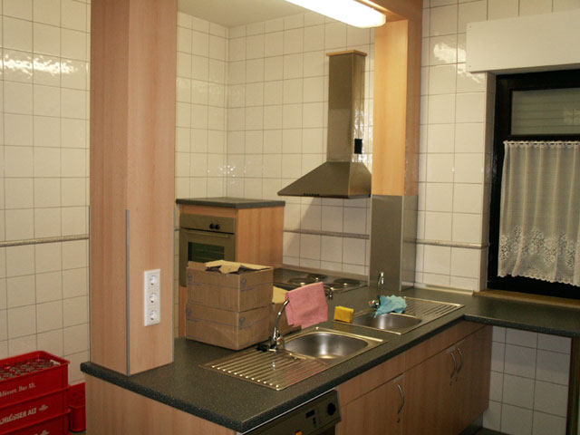 - Die Küchentheke mit Spüle, Backofen und prof. Spülmaschine -