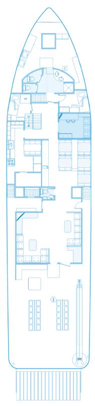 Haupt Deck Plan des Schiffes Seahunter auf der Kokosinseln, ©Underseahunter Group