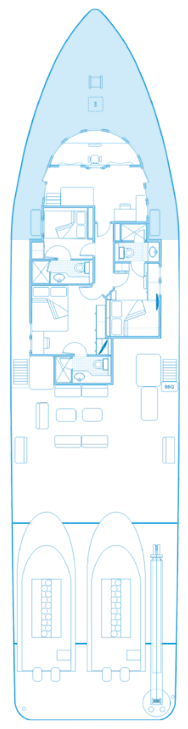 Upper deck plan of the ship Seahunter in Cocos Island, ©Unterseahunter Group