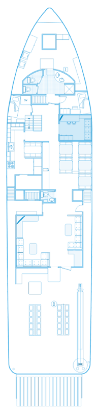 Main deck plan of the ship Seahunter in Cocos Island, ©Unterseahunter Group