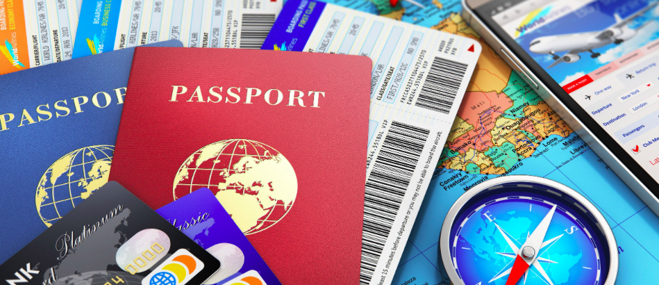 Travel preparation - passport, maps and credit cards