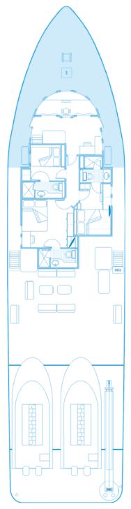 Oberes Deck Plan des Schiffes Seahunter auf der Kokosinseln, ©Underseahunter Group