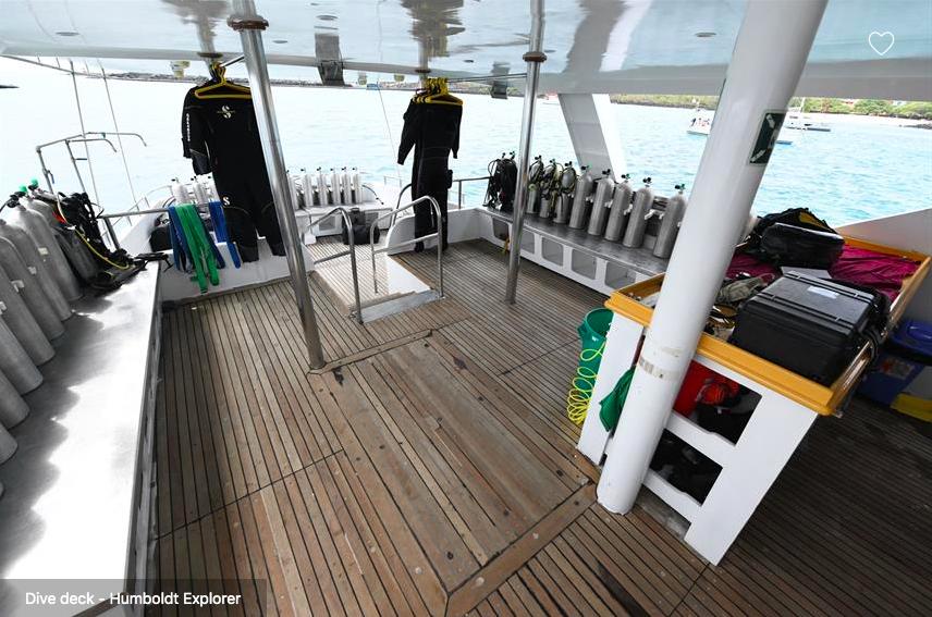 Galapagos Shark Diving - big dive deck of the ship Galapagos Dive Liveaboard