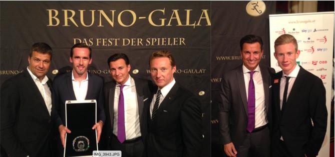Bruno-Gala 2015: Gernot Zirngast, Christian Fuchs, Mag. Heralic, Thomas Kattnig; Bild rechts: Florian Kainz (SK Rapid), Mag. Heralic