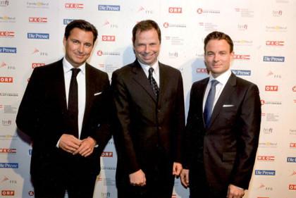 Austria'15-Gala 2015: Mag. Heralic, Mag. Philipp Bodzenta, Konzernsprecher Coca-Cola, Dr. Rudolf Schwarz, Geschäftsführer Die Presse